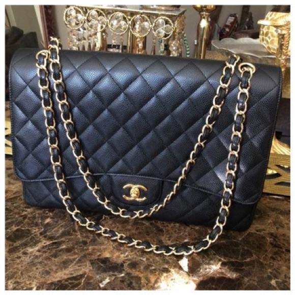 54c5b3e7f1f6 CHANEL Bags | Reserved 24k Gold Plated Maxi Flap Caviar Bag | Poshmark